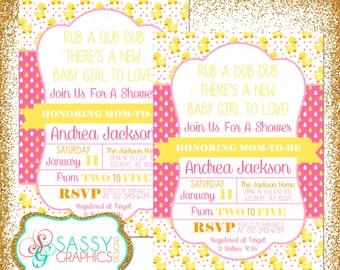 Duck Baby Shower Invite, Baby Shower invitation, digital invite, Girl Baby Shower Invite, PDF invite, DIY invite, pink, yellow (Item #91
