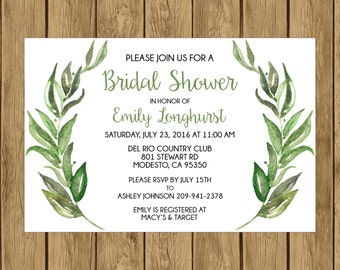Olive Branch Bridal Shower Invitation, Printable Bridal Shower Invitation, Digital Bridal Shower Invitation, Olive Branch Bridal Shower, 013