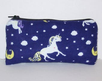 """Pipe Pouch, Unicorns & Moons, Glass Pipe Bag, Pipe Case, Padded Pipe Pouch, Cute Bag, Small Pouch, Girly Pipe Cozy, Weed Bag - 5.5"""" SMALL"""