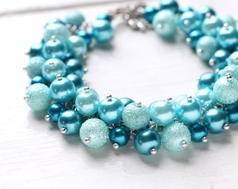 Teal Blue Wedding Bridesmaid Jewelry Pearl Cluster Bracelet, Bridal Party - Bubbles LAST ONE