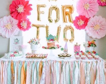 Ribbon Garland, Fabric Garland Banner, Shabby Chic Wedding Garland Backdrop, Rag Garland, Fringe Garland, Pink and Gold Baby Shower Girl