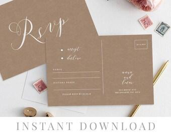 Rsvp Postcard Printable INSTANT DOWNLOAD, Wedding Rsvp Card DIY Printable Invitation, Templett, Editable pdf, Rustic Invites, Angel