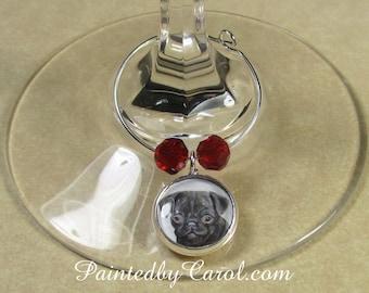 Pug Wine Charms, Black Pug Wine Charms, Pug Table Decor, Pug Gifts, Pug Kitchen Decor, Pug Party Gifts, Pug Home Decor, Pug Mom Gifts
