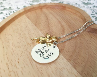 Handstamped necklace with cat pendant