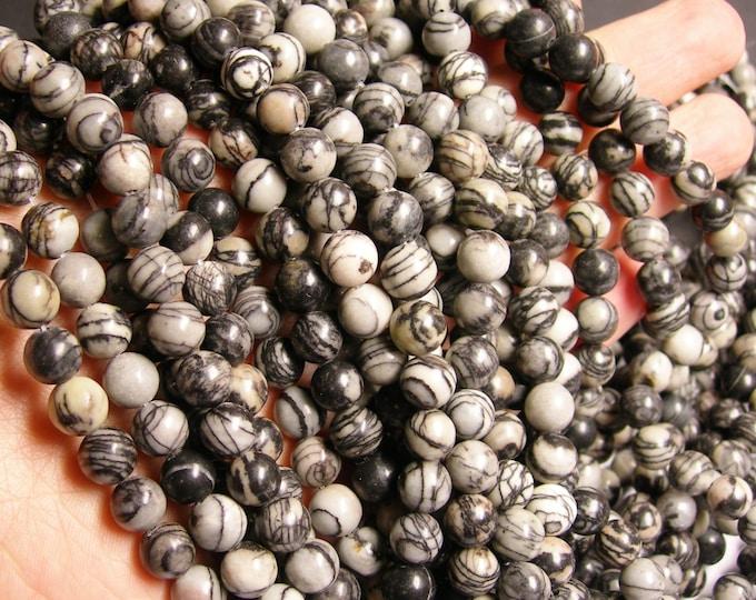 Silk Stone - 8 mm - round bead - 48 beads - full strand - Spider Jasper - Wholesale deal - RFG1019