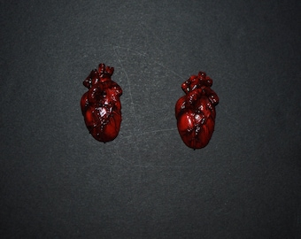 Human heart earrings Human heart handmade earrings Human heart polymer clay earrings Amatomical heart earrings Anatomy heart Heart jewelry