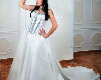 Wedding Bohemian Long White Skirt With Long Train Wedding Gown Queen Ball Gown And Sexy Glamorous Corset With Crystals
