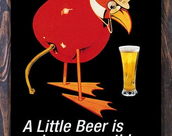 A Little Beer is A Dangerous Thing, Vintage Liquor Ad Giclee Art Print, fine Art Reproduction