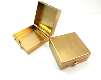 Raw Brass Engraving Hinged Box (1X) (J614)