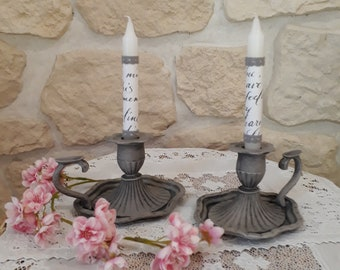 """""""taper"""" restyled and weathered old candle holder"""