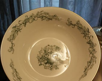Rare Vintage Lenox Ivory with Green Fruit Large Bowl