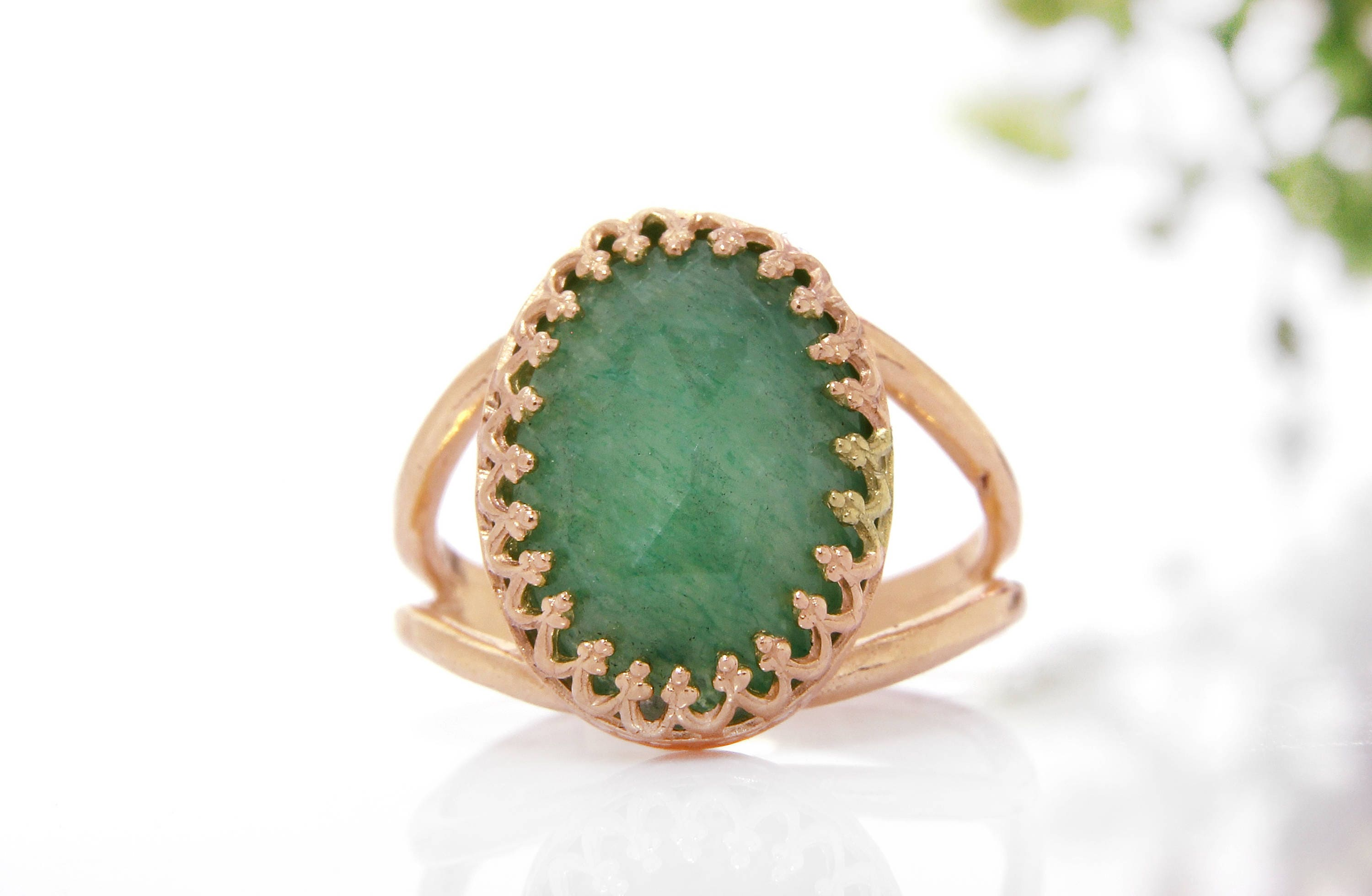 MOTHERS DAY SALE Rose gold Aventurine ringgreen