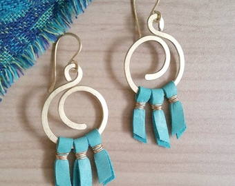 Gold and Turquoise Earrings - Wire Earrings - Boho Chic