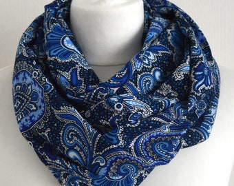 Blue Paisley Infinity Scarf - Eternity Scarf - Gift for Her - Bohemian Scarf - Womens Scarf - Spring Scarf - Summer Fashion - Gift for Her