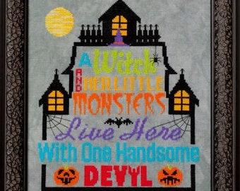 NEW! GLENDON PLACE Haunting Household cross stitch patterns at cottageneedle.com Cheryl Granda witch October Halloween 2018 Nashville Market