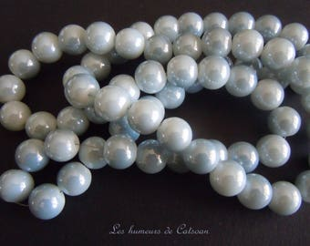 20 round bluish gray color 8mm glass beads