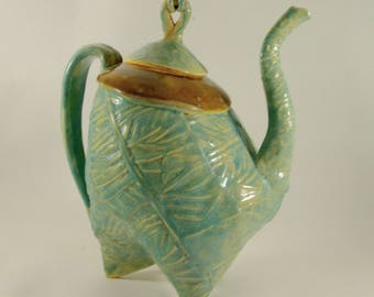 Dancing Teapot, Whimsical Tea Set, Large 40 ounce Tea Pot, Ceramics and Pottery, 9th Anniversary Gift, Teapot with Cups 003