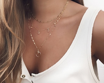 Delicate Necklace, Boho Necklace, 14 KT Gold fill, Statement Necklace, Dainty Necklace, Layering Necklace, Gold Filled Layers