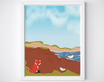 8 X 10 - Mr. Fox at the Beach - Fox Beach Print - Seaside Fox Print - Seaside Print - Red Cliff Prints - Mr. Fox Series - Beach Print