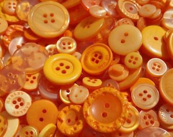 Orange Buttons - Assorted Round Sewing Button - 120 Buttons - Tangerine Tango
