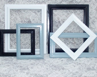 Black white gray wall grouping picture frames shabby chic wedding decor french country paris apartment