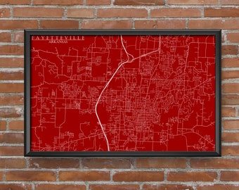 Fayetteville, Arkansas Map Art (University of Arkansas)