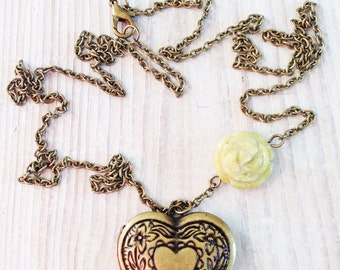 Céline Vintage Love Heart Locket in Spring Green and Brass OOAK