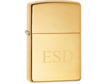 Personalized High Polish Brass Zippo Lighter - Zippo Lighter - Lighters - Brass Lighter - Gifts for Him - Groomsmen Gifts - ZP254B