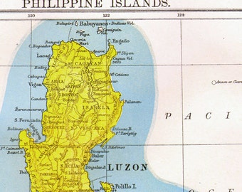 Philippine Island Map Antique Copper Engraving Cartography 1892 Vintage Victorian Geography Art To Frame