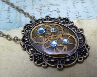 Steampunk Pendant - Precious Time - Steampunk Necklace- Repurposed art - Aquamarine Swarovski crystals