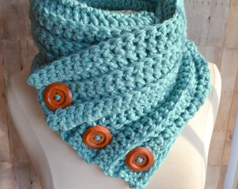 Ice Blue Three Button Cowl, Crochet Scarf, Chunky Knit, Cozy Aqua Cowl, Womens Winter Scarf, Crochet Cowl, Textured knit bulky cowl