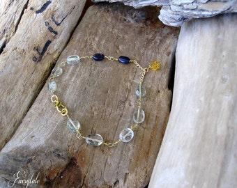 "Green Amethyst Bracelet / Blue Iolite / Yellow Citrine ""Cinderella"""