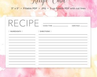 Recipe Card | 3x5 Recipe Card | Printable Recipe | Printable Card | Recipe | Printable | Recipe Cards | Recipe Template | Bridal Shower