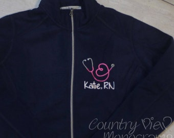 Women's stethoscope fleece jacket- Loop heart shaped stethoscope- YOUR choice of colors and fonts- Light or Heavy Weight Fleece Options