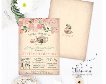 Baby Shower Tea Party Invitation - A Baby is Brewing Invitation Floral Baby Shower Invitation Girl Printable No.734BABY