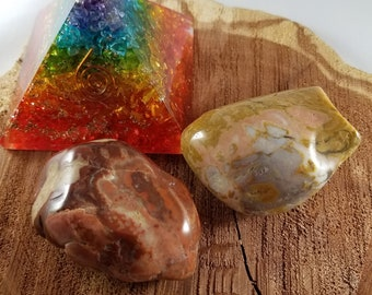 Set of Two EXTRA LARGE Montana Agate Display Specimens! ~Witch, Mystic, Crystal Grid