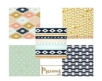 AZTEC Navy, Mint, Gold and White - Custom Crib Bedding - Choose your fabrics
