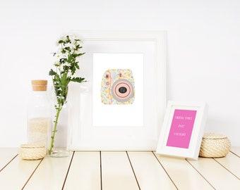 "Instax Camera Print - 8x10"" - Floral Design - Digital Download"
