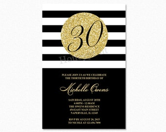 Gold 30th Birthday Party Invitation, Black and White Stripes, 30th Birthday Invitation, Milestone Birthday, Printable or Printed