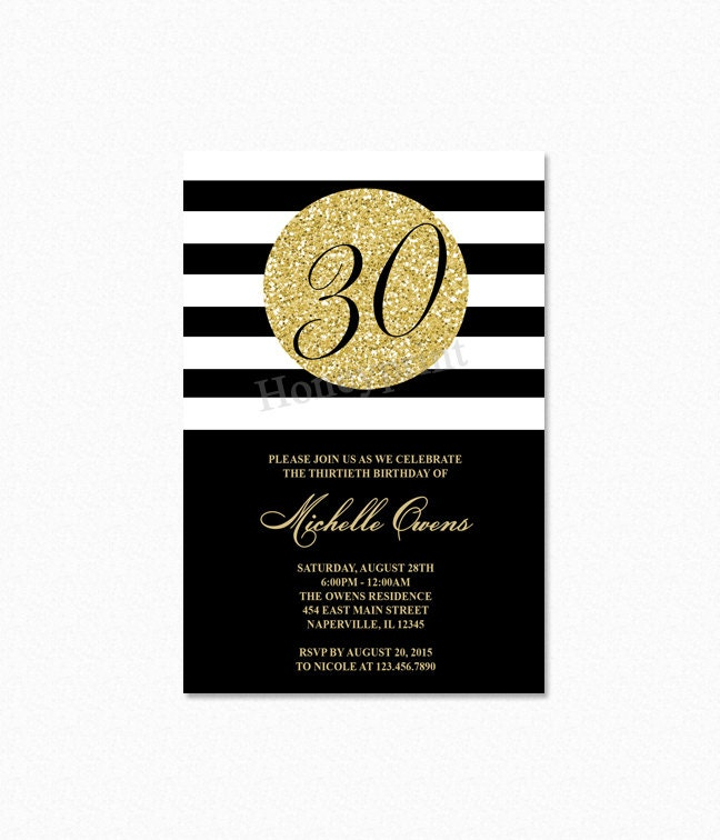 Gold 30th Birthday Party Invitation Black and White Stripes