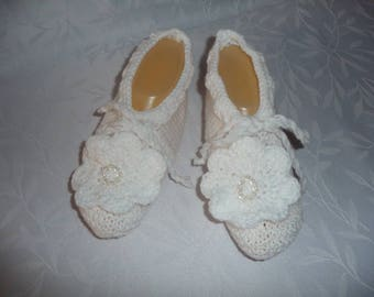 bed slippers, indoor slippers, slippers knit T.37/38, bed or inside - white - ideal for sensitive.