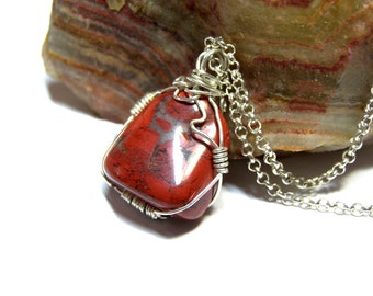 Wire tumbled Red Jasper stone Pendant, wrapped jasper pendant, healing stone, red stone, sterling silver pendant, etsy pendant