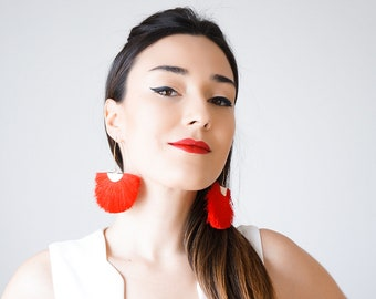 Tassel Earrings Tassel Jewelry Red Tassel Earrings White Tassel Earrings Blue Tassel Earrings Black Tassel Earrings/CAMILLA