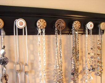 """READY TO SHIP Necklace organizer jewelry storage rack with 7 decorative cabinet knobs on black. classic look 20"""" great gift for Mother's Day"""