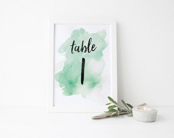 Instant Download Watercolor Splash Table Numbers / Mint Green Watercolor / Brush Lettering / Digital Print-at-Home File Table Numbers 1-20