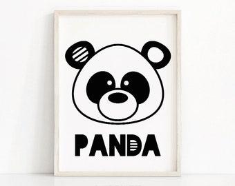 Panda Nursery Wall Art Printable, Animal Nursery Print, Panda Bear Kids Art Print, Black White Nursery Decor, Kids Print, Baby Animal Print
