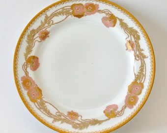Art Nouveau Antique French Haviland Limoges Poppy Flowers Porcelain Plate