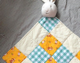 Bunny Rabbit Lovey Quilted Baby Blanket, Security Blanket