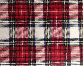One Half Yard of  Fabric Material - Red Tartan Plaid - FLANNEL