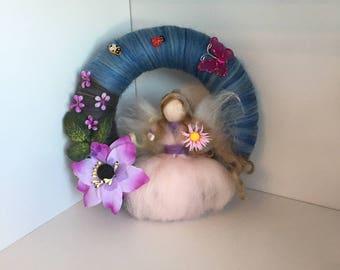 Spring needle felted fairy wreath, Waldorf inspired, Felt Wreath, Needle Felt Fairy, Fairy Decoration